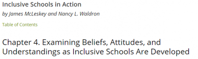 Chapter 4. Examining Beliefs, Attitudes, and Understandings as Inclusive Schools Are Developed