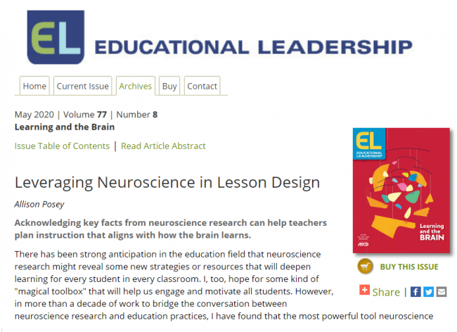 Leveraging Neuroscience in Lesson Design - Image of Abstract Page of Article