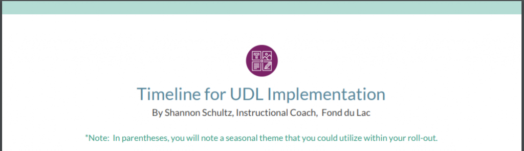 Timeline for UDL Implementation