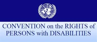 On the top of the image is the UN logo of a world between two palm leaves. Under this are the words: Convention on the Rights of Persons with Disabilities.