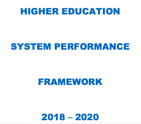 A snapshot of the front cover for the Higher Education System Performance Framework in Ireland 2018-2020